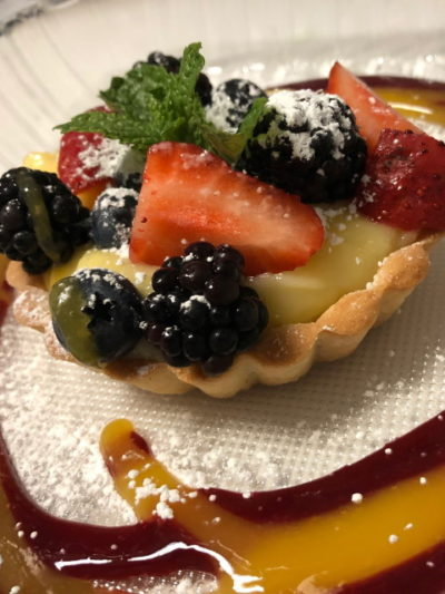 Custard tart wit with mixed berries at Trattoria Positano, Cardiff-by-the-Sea, CA