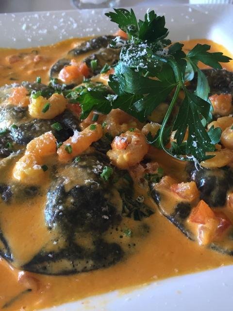 Seafood ravioli in a lobster cream sauce at Trattoria Positano Cardiff-by-the-Sea, CA