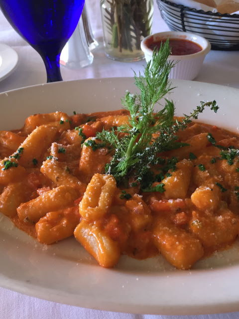 Homemade gnocchi in tomato sauce at Trattoria Positano, Cardiff-by-the-Sea, CA