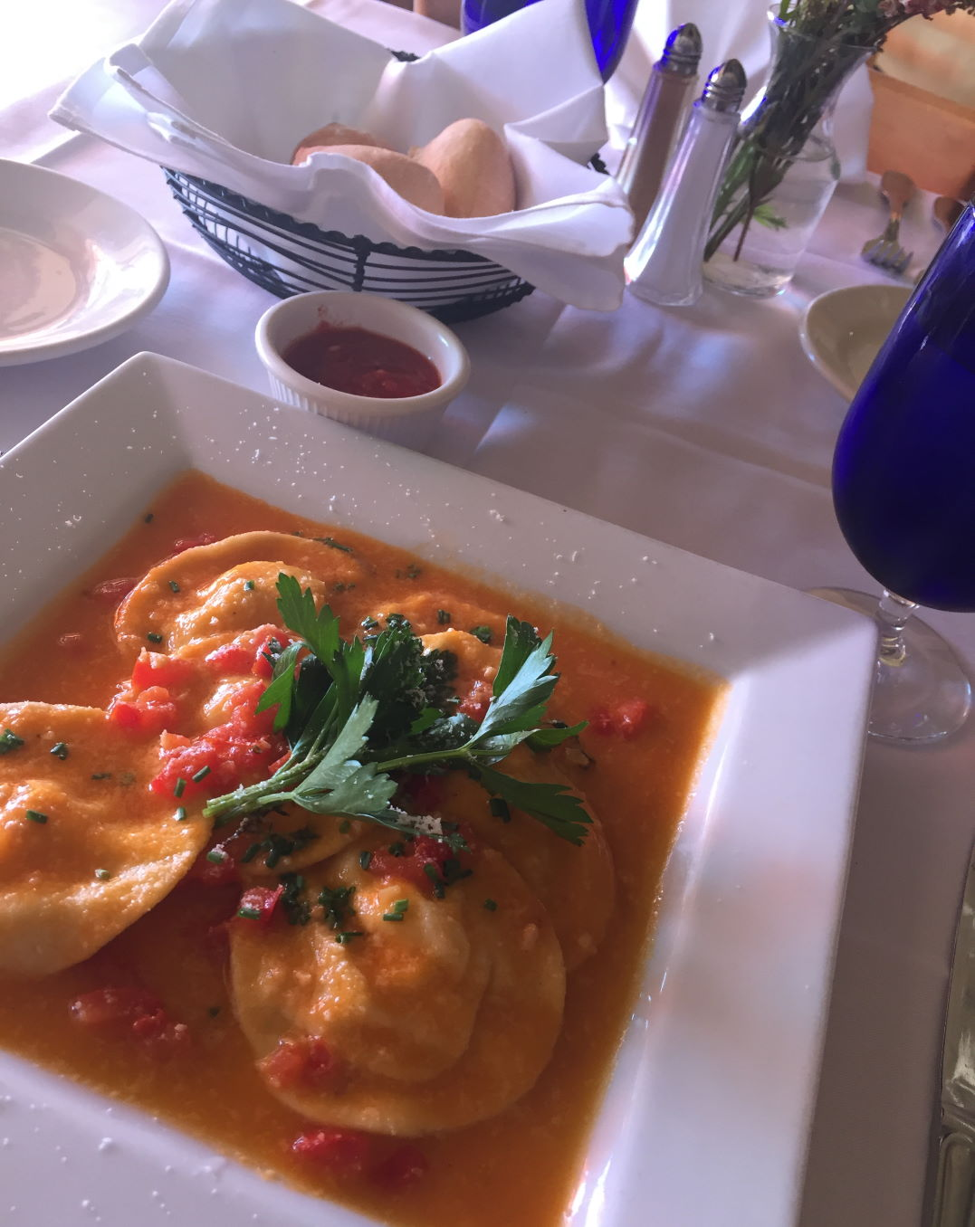 Homemade ravioli in a tomato sauce at Trattoria Positano, Cardiff-by-the-Sea