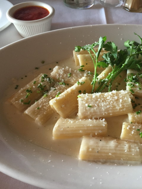 Rigatoni in a white cream sauce at Trattoria Positano Cardiff-by-the-Sea, CA